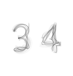 Black smoke font numbers 3 4 vector