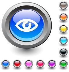 Eye round button vector