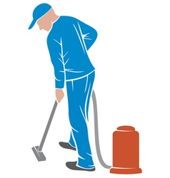 Man and a carpet cleaning machine vector