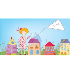 Happy child girl in the town with banner vector