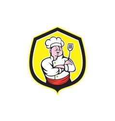 Chef cook holding spatula shield cartoon vector