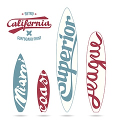 Retro vintage prints for surfboards vector