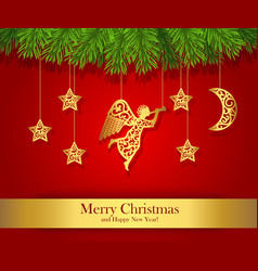 Red christmas greeting card decorated with gold vector