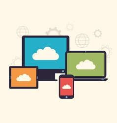 Concept of cloud service and mobile devices trendy vector