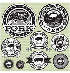 Set of labels with pig and pork vector