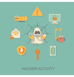 Hacker activity computer viruses concept vector