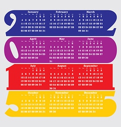 2015 calendar with flat numbers and long shadows vector