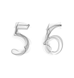 Black smoke font numbers 5 6 vector