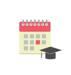 Flat style calendar icon with graduation hat vector