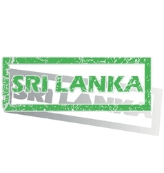 Green outlined sri lanka stamp vector
