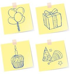 Birthday party sketches vector