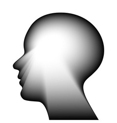 Head for the concept of thought isolated on a whit vector