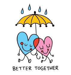 Better together cute hearts vector