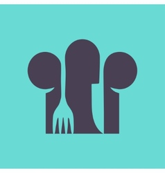 Cooks hat with fork and spoon in flat design vector