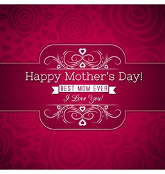 Red mothers day greeting card with roses vector