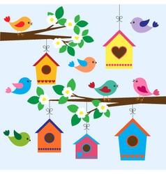 Birdhouses in spring vector