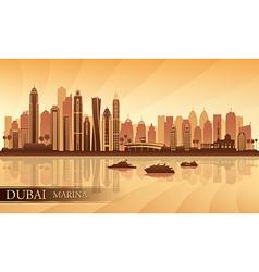 Dubai marina city skyline silhouette background vector