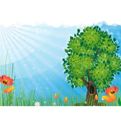 Tree in the meadow vector