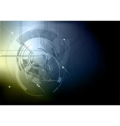 Tech background blue gold dark vector