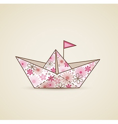 Paper boat and flowers vector