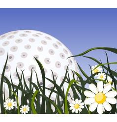 Golf ball on the grass vector