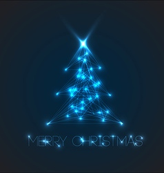 Christmas tree from digital electronic blue lights vector