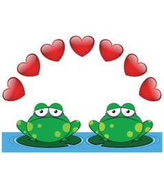Frog valentine lovers vector