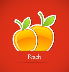 Fruit label peach vector