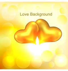 Background with two gold hearts vector