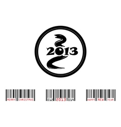 2013 year of snake with bar-code vector