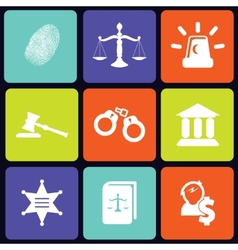 Justice icons square vector