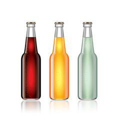 Glass soda bottles isolated on white vector