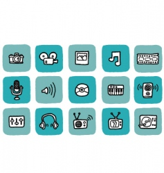 Doodle icon set  media vector