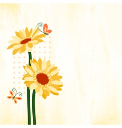 Springtime colorful daisy flower with butterfly vector