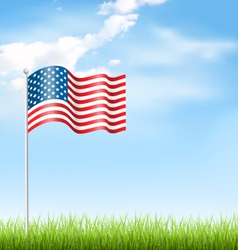 Wavy usa national flag with grass and clouds on vector