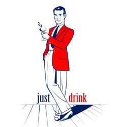 Cocktail drink man vector