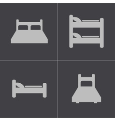 Black bed icons set vector