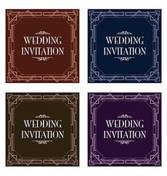 Art deco gatsby wedding invite vector