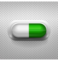 Green and white capsule pill with background vector
