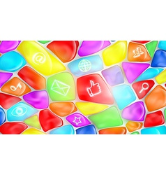 Social media signs and symbols on colored stones vector