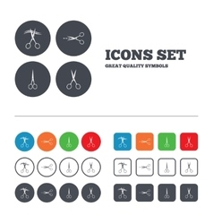 Scissors icons hairdresser or barbershop symbol vector