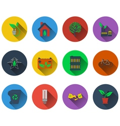 Set of ecological icons in flat design vector