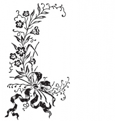 Antique flowers border engraving vector