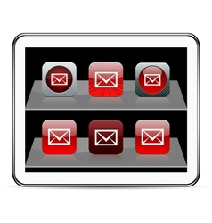E-mail red app icons vector