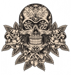 Skull and roses vector