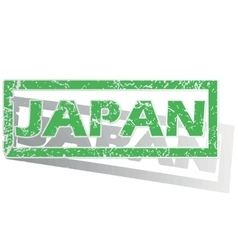 Green outlined japan stamp vector