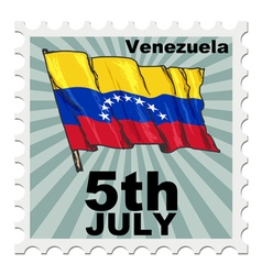 Post stamp of national day of venezuela vector