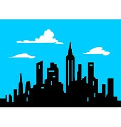 Graphic style cartoon city skyline vector
