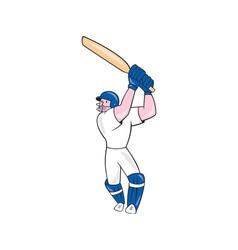 Cricket player batsman batting cartoon vector