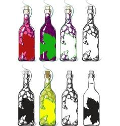 Bottles of wine vector